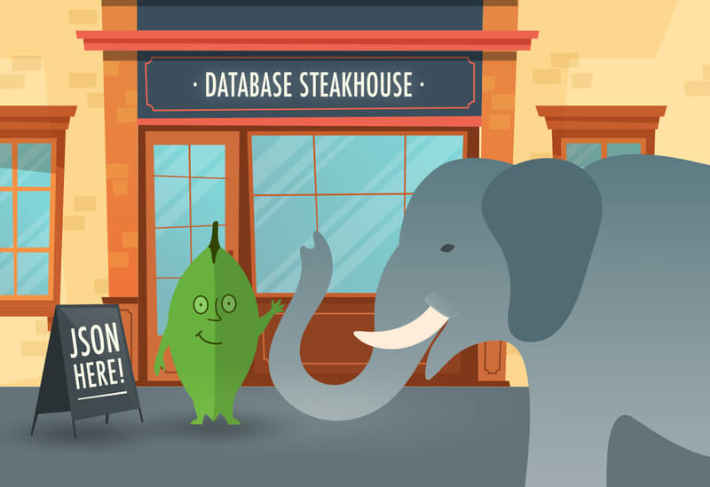 Cartoon: PostgreSQL and MongoDB entering into the Database Steakhouse, to eat some JSON